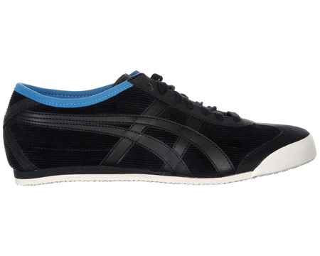 Onitsuka Tiger Mexico 66 Black Corduroy Trainer Colourway; Black Black Black corduroy upper with trademark Asics Onitsuka side stripes in black to side of shoe. Electric blue heel tab with Tiger logo in black. Matching black suede toe protector and s - CLICK FOR MORE INFORMATION