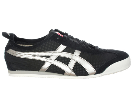ONITSUKA TIGER Mexico 66 Black/Metallic Silver Trainers Colourway; Black Metallic Silver Old skool styled casual trainer from Onitsuka Tiger first introduced in 1966 at the Mexico Olympic Games and the first style to carry the now World famous Onitsu - CLICK FOR MORE INFORMATION