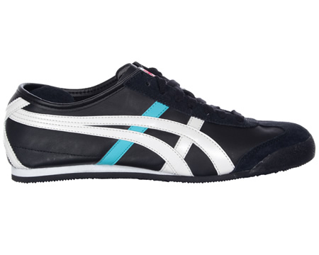 Onitsuka Tiger Mexico 66 Black/White Leather Trainers Colourway; Black White Red Black leather uppers with trademark Asics Onitsuka side stripes in white leather. Black leather heel tab with Tiger logo in red. Black suede toe protector and black synt - CLICK FOR MORE INFORMATION