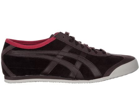 Onitsuka Tiger Mexico 66 Coffee Bean Corduroy Trainer Colourway; Brown Brown Dark brown corduroy upper with trademark Asics Onitsuka side stripes in brown to side of shoe. Bright red heel tab with Tiger logo in black. Matching brown suede toe protect - CLICK FOR MORE INFORMATION