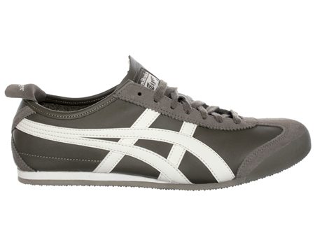 Onitsuka Tiger Mexico 66 Olive/White Leather Trainers  Colourway;Olive  White  Olive leather upper with trademark Asics Onitsuka side stripes in white leather. Olive suede heel tab with white Tiger logo. Suede toe protector and slim olive synthetic s - CLICK FOR MORE INFORMATION