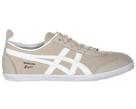 Onitsuka Tiger Mexico 66 Vulc CV Beige/White Canvas Trainers Colourway; Beige White Beige canvas uppers with trademark Asics Onitsuka side stripes in white. Onitsuka logo in black below stripes. White vulcanised rubber sole unit. Thin beige tongue wi - CLICK FOR MORE INFORMATION