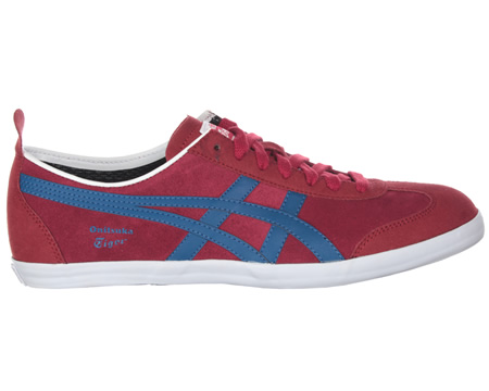 Onitsuka Tiger Mexico 66 Vulc SU Claret/Blue Suede Trainers Colourway; Claret Red Blue Red suede upper with trademark Asics Onitsuka side stripes in blue. Onitsuka logo in blue below stripes. White vulcanised rubber sole unit. Thin red suede tongue w - CLICK FOR MORE INFORMATION