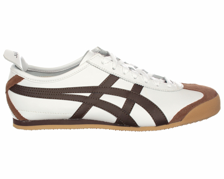Onitsuka Tiger Mexico 66 White/Brown Leather Trainers  Colourway; White  Light Taupe  White leather upper with trademark Asics Onitsuka side stripes in brown. Light grey suede heel tab  with Tiger logo in brown. Grey suede toe protector and slim grey - CLICK FOR MORE INFORMATION
