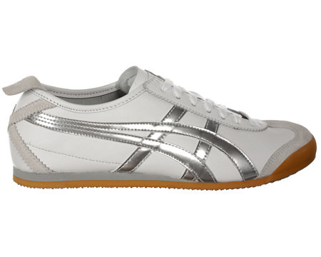 ONITSUKA TIGER Mexico 66 White/Metallic Silver Trainers Colourway; White Metallic Silver Old skool styled casual trainer from Onitsuka Tiger first introduced in 1966 at the Mexico Olympic Games and the first style to carry the now World famous Onitsu - CLICK FOR MORE INFORMATION