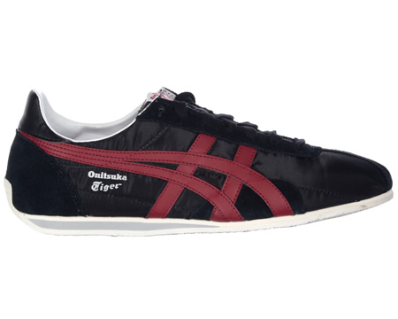 Onitsuka Tiger Runspark OG Black/Red Material Trainers Colourway; Black Red Black material upper with trademark Asics Onitsuka side stripes in red leather. White synthetic sole unit. Onitsuka Tiger logo in silver below stripes. Black suede heel toe a - CLICK FOR MORE INFORMATION