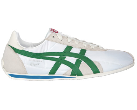 Onitsuka Tiger Runspark OG White/Amazon Material Trainers Colourway; White Green White material upper with trademark Asics Onitsuka side stripes in green leather. White synthetic sole unit. Onitsuka Tiger logo in silver below stripes. Light grey sued - CLICK FOR MORE INFORMATION