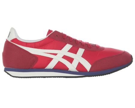 Onitsuka Tiger Sakurada OT Red/White Nylon Trainers  Colourway; Red  White  Red nylon uppers with the trademark Asics Onitsuka side stripes in white leather to compliment the Onitsuka Tiger branded heel tab. Suede-look lace surround  toe cap and heel - CLICK FOR MORE INFORMATION