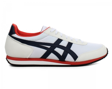 Onitsuka Tiger Sakurada White/Navy Nylon Trainers Colourway; White Navy Red The white nylon uppers of the trainer are trimmed with suede to the toe and heel and the trademark Asics side stripes are in navy leather. The Onitsuka Tiger logo sits to the - CLICK FOR MORE INFORMATION
