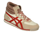 Onitsuka Tiger Sunotore Cream/Red Material Trainer Colourway; Creme Brulee Jester Red Cream material upper with trademark Asics Onitsuka side stripes. Woven padded cuff to the ankle. Thick material tongue with onitsuka tiger logo on a stitched suede  - CLICK FOR MORE INFORMATION