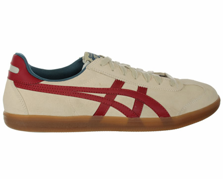 Onitsuka Tiger Tokuten Birch/Red Suede Trainers Colourway; Birch Red Birch suede uppers with trademark Onitsuka Tiger side stripes in red leather. Matching birch suede toe piece and lace surround red leather heel trim and tiger logo on material tongu - CLICK FOR MORE INFORMATION