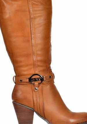 Onlineshoe Womens Ladies Tall Knee High Biker Boots With Straps and Heel UK5 - EU38 - US7 - AU6 Tan With Buckle