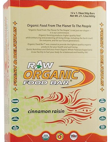 Organic food bar raw organic food bar cinnamon raisin 12 for Raw food bars uk