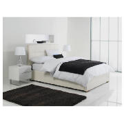 Orleans King Faux Leather Storage Bed, White, product image