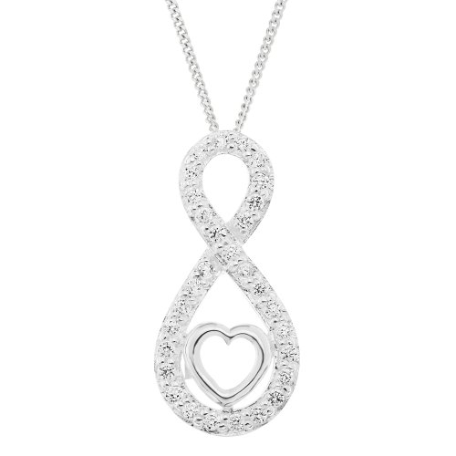Ornami Sterling Silver CZ Slider Pendant with Chain of 46cm