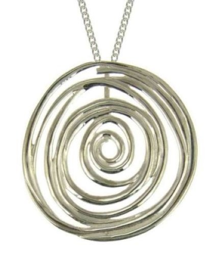 Ornami Sterling Silver Round Contemporary Pendant on 46cm chain