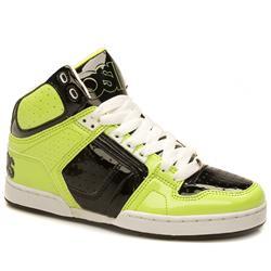 Osiris Male Bronx Patent Upper Hi Tops in Black and Green