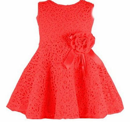 Other New Kids Girls Princess Party Flower Solid Lace Formal Dress (130for(5-6 Years), pink) product image