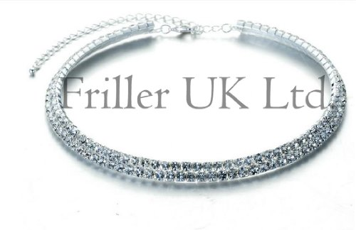 Other Stunning 3 Row Crystal Necklace. Silver product image