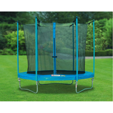 8ft trampoline with safety net; galvanised steel frame and legs; max load 100kg. Children must be 6  - CLICK FOR MORE INFORMATION
