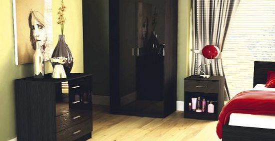 Ottowa Two Tone Black High Gloss 3 Piece Bedroom Furniture Set product image