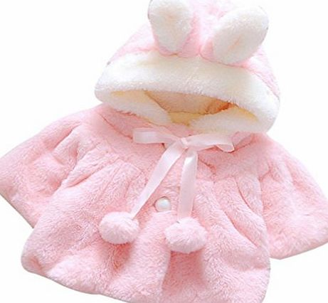 Ouneed Winter Kids Girls Fur Winter Warm Coat Cloak Thick Warm Clothes (9M, Pink)