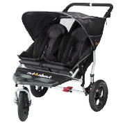The Out n About V2 Nipper 360, double pushchair comes in a classic black colour.  Lockable 360� swivel front wheel makes steering, manoeuvring and multitasking easier.  The light weight aluminium frame features a new bumperbar.  Multi-position, indep - CLICK FOR MORE INFORMATION