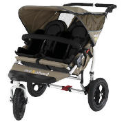 The Out n About V2 Nipper 360, Double pushchair comes in a sweet Carmel colour.  Lockable 360� swivel front wheels makes steering, manoeuvring and multitasking easier.  The light weight aluminium frame features a new bumperbar.  Multi-position, indep - CLICK FOR MORE INFORMATION