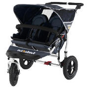 The Out n About V2 Nipper 360, Double pushchair comes in a smart navy colour.  Lockable 360� swivel front wheel makes steering, manoeuvring and multitasking easier.  The light weight aluminium frame features a new bumperbar.  Multi-position, independ - CLICK FOR MORE INFORMATION