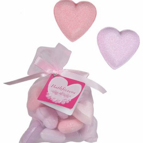 Luxury Pamper Gift Heart Shaped Bath Fizzers - Pack of 10 in a Gift Bag - Ladies Perfect Ideal Christmas Present / Gift / Stocking Filler Ideal Gift for The Gardener