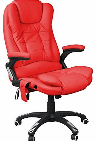 outdoortips  Multicolor Luxury 6-Point Massage Reclining Designer Office Massage Chair (Red) product image