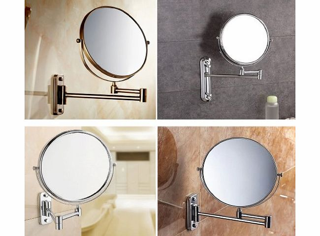 High Quality Magnifying Mirrors, Chrome Extending 8 inches cosmetic doubles sides wall mounted make up mirror shaving bathroom mirror foldable and height-adjustable (10x Magnification)