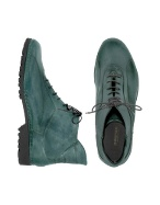 Pakerson Women` Petrol Blue Genuine Italian Leather Lace-up Ankle Boots