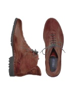 Pakerson Women` Wine Red Genuine Italian Leather Lace-up Ankle Boots