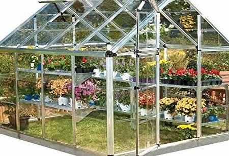 Palram 6x8ft Snap amp; Grow Silver Greenhouse, Clear Polycarbonate, Base Included