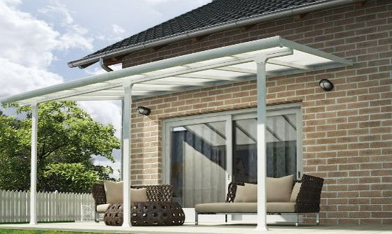 Palram Pergola Patio Cover Feria 3 x 4.25m with Robust Structure for Year-Round Use - White