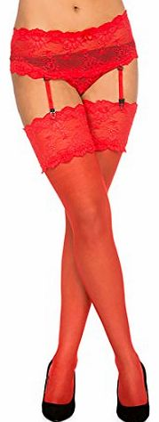 Paradise4women Sexy Suspender Belt & Briefs plus Lace Top Stocking , Various Colours (XLarge, Red) product image