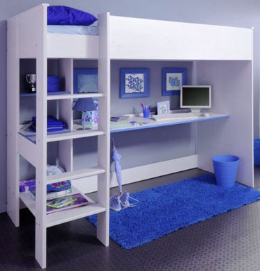 Stompa Uno 7 White Highsleeper Bunk Bed With Desk And