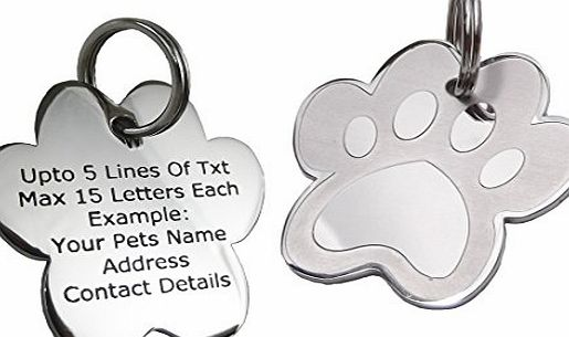 PawGear Pet ID Tags Personalised Engraved Polished Stainless Steel Paw Dog Cat PawGear (Medium/Large- One Side Engraved)