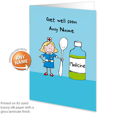 Personalised card get well soon medicine personalised card get well