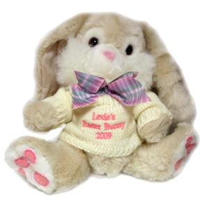 Personalised Cream Bunny with Pink Thread