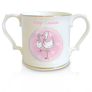 personalised Pink Stork Loving Cup