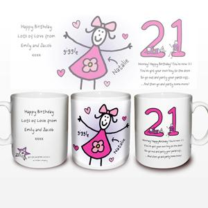 Personalised Purple Ronnie Female 21st Mug product image