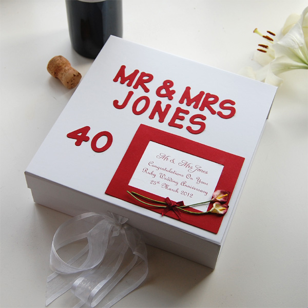Personalised Ruby Anniversary Keepsake Box Large