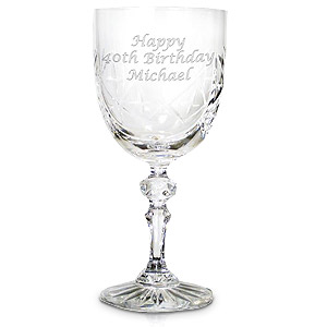 personalised Single Cut Crystal Wine Goblet