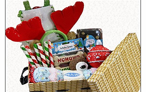 Christmas Woof Box Hamper for Dogs - Xmas Gift Baskets Presents for Dogs - Gift Boxes for Dogs Xmas