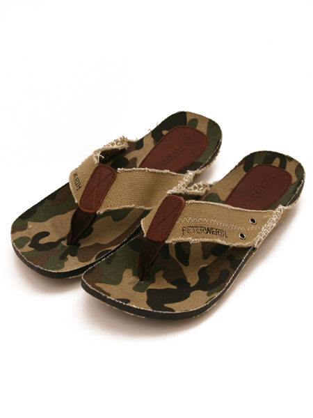 Peter Werth Toe Post Sandal- Men's canvas sandal from Peter Werth- Camo base with beige toe post - CLICK FOR MORE INFORMATION