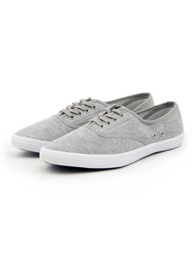 Peter Werth 5 Eyelets Plimsolls - Mens plimsolls from Peter Werth - Stitched detail, canvas lace-up plimsoll - Rounded toe with a purple textured rubber sole - Two pairs of laces included - Product Code: PW24901GRYSS - Material: Canvas - Colour: Grey - CLICK FOR MORE INFORMATION