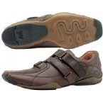 Mens Triple Velcro Shoe Brown Pull Up