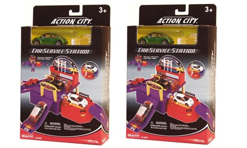 Peterkin action city playset car service station with 1 car